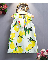 cheap -Girl's Beach Solid Floral Dress,Cotton Summer Sleeveless Floral Cartoon Yellow Royal Blue