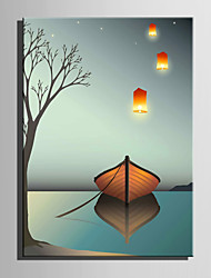 cheap -E-HOME Stretched LED Canvas Print Art Silent Boat LED Flashing Optical Fiber Print One Pcs