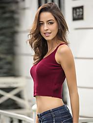cheap -Women's Party Club Beach Sexy Tank Top,Solid Strap Sleeveless Cotton Polyester Medium