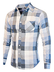 cheap -Men's Cotton Shirt - Solid Color Block, Print