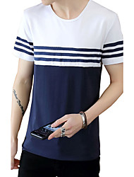 Men's Plus Size Casual/Daily Beach Cute Street chic Active Summer T-shirt,Solid Striped Round Neck Short Sleeve Blue White Cotton Medium
