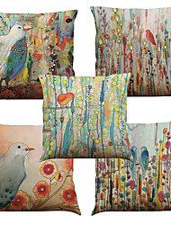 cheap -Set of 5 Hand painted oil painting plants Pattern  Linen Pillowcase Sofa Home Decor Cushion Cover (18*18inch)