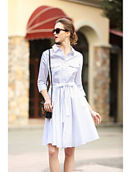 BLUEOXY Women's Going out Work Holiday Vintage Loose Dress,Solid Round Neck Knee-length Long Sleeve Cotton Blue White Spring Mid Rise Inelastic