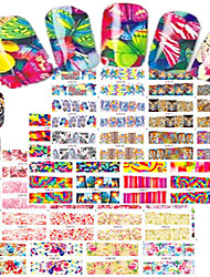 cheap -1set 48pcs Mixed Nail Art Watermark Sticker Beautiful Flower&Butterfly Leopard Design Nail Set Water Transfer Decals BN73-120