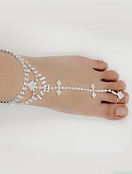 abordables -Sandales Pieds Nus - Imitation Diamant Forme de Feuille, Amis, Cœur Bohème, Mode, Mariée Argent Pour Mariage / Soirée / Quotidien / Femme