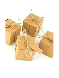50pcs Square Kraft Box Paper Bag Wedding Box Candy Box For Wedding Decoration With Name Card Gift Box Wedding Favors