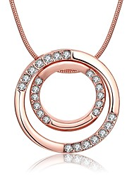 Women's Pendant Necklaces Chain Necklaces AAA Cubic Zirconia Round Zircon Rose Gold Plated Alloy Basic Circular Unique Design Dangling