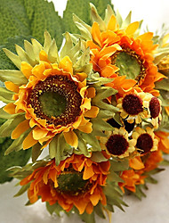 6 Branch Silk Sunflowers Tabletop Flower Artificial Flowers Tabletop Flower