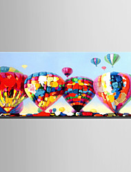 E-HOME Oil painting Modern Colorful Hot Air Balloon Pure Hand Draw Frameless Decorative Painting