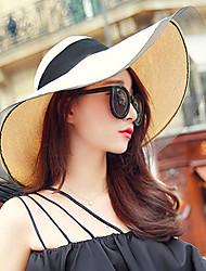 Недорогие -Жен. Уличный стиль Широкополая шляпа Соломенная шляпа Шляпа от солнца Однотонный