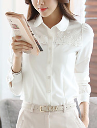 Women's Going out Work Simple Street chic Gentlewoman Spring Fall ShirtSolid Patchwork Chiffion Lace Shirt Collar Long Sleeve Medium
