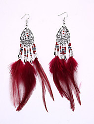 Europe And The United States National Wind Restoring Ancient Ways Of Millet Bead Tassel Earrings The New Hollow Out Long Feather Earrings