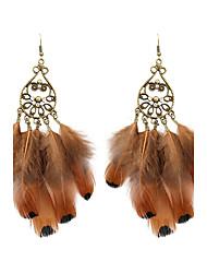 economico -orecchini vintage in piuma di strass per donna, stile classico femminile