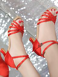 cheap -Women's Latin Satin Leatherette Sandal Heel Practice Beginner Professional Indoor Performance Buckle Ribbon Tie Cuban Heel Brown Red Blue