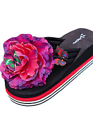 Women's Slippers & Flip-Flops PU Summer Casual Outdoor Flower Flat Heel White Black Yellow Fuchsia Flat
