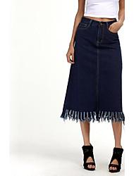 Femme Grandes Tailles Jupes,Moulante Couleur Pleine Toile de jean,Taille Haute Chic de Rue Midi Décontracté / Quotidien Cotonfermeture