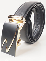 Leisure and fashion of men's black gold streamline graph automatic leather strap body is about 3.6 cm wide