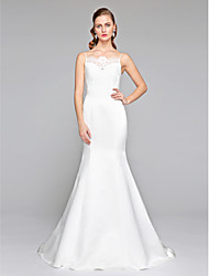 cheap -Mermaid / Trumpet Spaghetti Straps Court Train Lace Satin Custom Wedding Dresses with Button by LAN TING BRIDE®