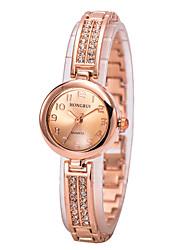 Women Charm Gold Bracelet Watch Quartz Imitation Diamond Alloy Band Watch for Wedding Party