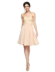 cheap -A-Line Sweetheart Knee Length Chiffon Lace Bridesmaid Dress with Beading Pleats by LAN TING BRIDE®