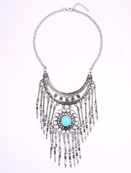 Europe And The United States National Wind Restoring Ancient Ways Necklace Multi-Layered Tassels Gemstone Jewelry