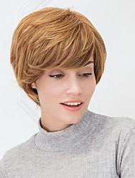 gruesa corta ombre rubio recto natural se mezcla peluca de cabello humano sin tapa para niñas y mujeres 2017