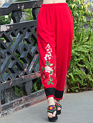 2017 pantalons à jambes larges nouvelle couleur de sort du vent national brodés