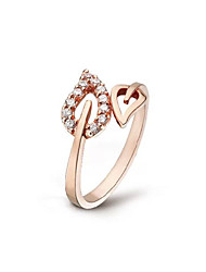 cheap -Fashion Crystal Hollow Leaves Ring Peach Heart Adjustable Ring Party Halloween Daily Casual Jewelry Alloy Midi Rings 1pcAdjustable Gold Silver