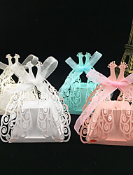 cheap -Creative Pearl Paper Favor Holder with Ribbons Favor Boxes - 50