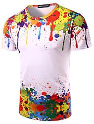 Tee-shirt Hommes,Imprimé Sortie Décontracté / Quotidien Plage simple Manches Courtes Col Arrondi Multi-couleur Coton