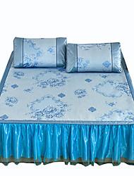 Yuxin®Bed Skirt Section  Ice Silk Mats Linen Mats Summer Cool Mat Air Conditioning Mat Three Sets  Ice Mats*1 Pillowcase*2  Bedding Set