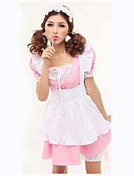 cheap -Maid Costume Cosplay Costume Female Carnival Festival / Holiday Halloween Costumes White+Pink Solid