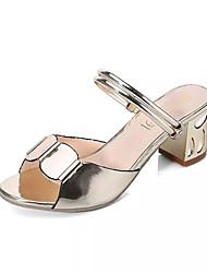 Damen Sandalen Fersenriemen PU Sommer Normal Fersenriemen Blockabsatz Block Ferse Gold Silber 2,5 - 4,5 cm