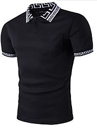Недорогие -Спорт Polo Хлопок, Рубашечный воротник Классический Однотонный / С короткими рукавами