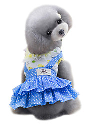 abordables -Chien Robe Vêtements pour Chien Mignon Mode A pois Jaune Bleu Costume Pour les animaux domestiques