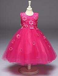 cheap -Girl's Print Dress,Polyester Summer Sleeveless Floral Bow Light Green Fuchsia