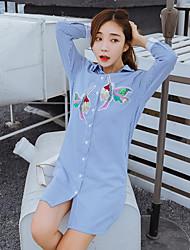 firmare nuova sezione lunga 2017 molla coreana a maniche lunghe paillettes ricamo uccello allentata di camicia a strisce femminile