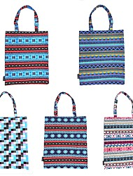 RayLineDo® Pack of 5 Eco-Friendly Resuable Large Multi Color Bohemia Canvas DIY Carry-All Tote Bag Lunch & Grocery Shopping Bags 19x16 Inches Blue