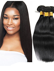Ljudska kosa Indijska kosa Ljudske kose plete Ravna Ekstenzije za kosu 3 komada Crna