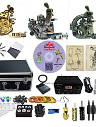 cheap -Tattoo Machine Professional Tattoo Kit 3 alloy machine liner & shader LCD power supply 3 x aluminum grip 4 x disposable grip 50