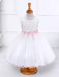 baratos -Menina de Vestido Verão Poliéster Sem Manga Floral Laço Branco