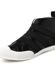 cheap -Running Shoes Men's Fashion Casual Shoes EU39-44 Hight-top Microfiber Board Flats Shoes Black Red Blue