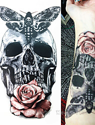 1 pcs  21 X 15 CM Skull With Moth And Flower Cool Beauty Tattoo Waterproof Hot Temporary Tattoo Stickers
