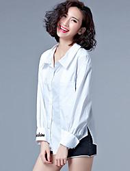 unterzeichnen im Frühjahr 2017 Größe Frauen Fett mm weibliches Hemd Manschetten gestickt Quadrat Kragen gestreiftes Hemd einfaches T-Shirt