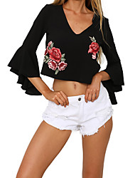 cheap -Women's Polyester T-shirt - Solid Floral V Neck