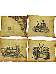 Set of 4 Retro poster pattern Linen Pillowcase Sofa Home Decor Cushion Cover
