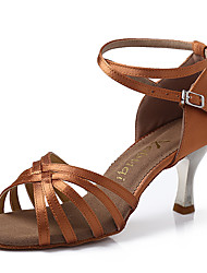 cheap -Women's Dance Shoes Ballroom/Latin/Salsa Satin Stiletto Heel Black/Camel