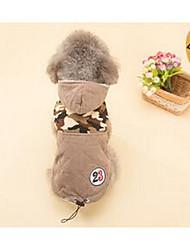 preiswerte -Hund Mäntel Kapuzenshirts Hundekleidung Warm Atmungsaktiv Niedlich Lässig/Alltäglich Solide Braun Kostüm Für Haustiere