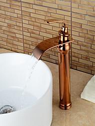 Contemporâneo Conjunto Central Cascata with  Válvula Cerâmica Monocomando e Uma Abertura for  Ouro Rose , Torneira pia do banheiro