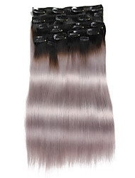 "9Pcs/Set Deluxe 120g 1b/Grey Ombre Black Grey Clip In Hair Extensions 16"" 20"" 100% Human Hair"